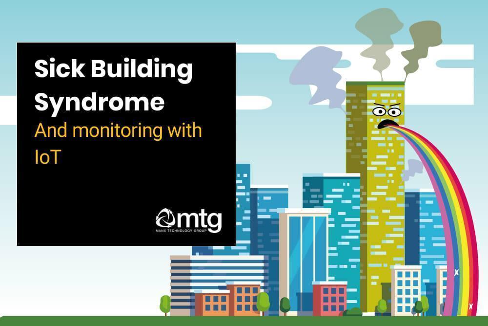 Tekening groot gebouw met aangezicht. Uit de mond komt de regenboog. Vochtige woning. Tekst op afbeelding: Sick Building Syndroom.